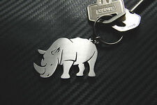 RHINO Rhinoceros African Animal White Black Keyring Keychain Key Novelty Gift