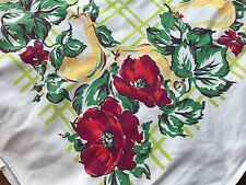 Vintage Cottage Cotton Startex Tag Tablecloth  Pears Red Flowers Trellis 50x62