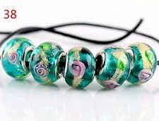 5pcs SILVER MURANO GLASS BEAD fit European Charm Bracelet Jewelry Making [NO.38]