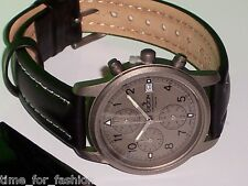 Croton Black Leather Watch Grey Dial Chronograph Subdials Titanium Case - Quartz