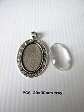 PC6. 5 jeux 20x30mm ovale argent antique blank cabochon cadre cadre pendentif uk