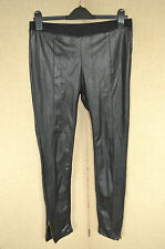 RIVER ISLAND Black leather effect panelled skinny trousers leggings UK 10 L30
