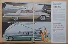 1960 two page magazine ad for Buick - Photo of 1961 LeSabre, Buick Special wagon