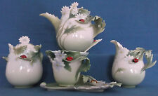 FRANZ PORCELAIN LADYBUG LADYBIRD DAISY PATTERN TEA SET 6 PIECES INCLUDING TEAPOT