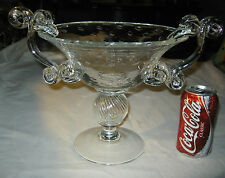 ANTIQUE LG CHEMICAL BUBBLE HAND BLOWN ART GLASS COMPOTE FRUIT BOWL FLOWER VASE