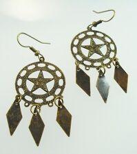 Metal Dangle Bronze Gypsy Earrings Diamond Star
