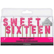 Sweet Sixteen 16 Birthday Celebration Cake Decoration Pick Candles Party Favors