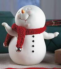 Cold Cast Ceramic Snowpinions™ Figurine w/ Knitted Accents : Get Jingly w/ Me