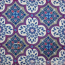 BonEful Fabric FQ Cotton Gray Blue Purple Victorian Shabby Chic Lg Damask Flower