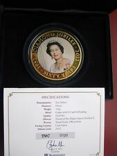 Cook Islands Diamond Jubilee $5 Dollars 2012 gold-plated coin Proof-like 65 mm