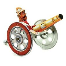 Spring Loaded tin toy collectable vintage Soldier with cannon gift wind up