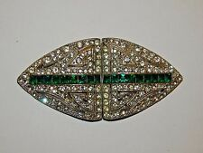 Large Coro Duette Signed Dress Clip Pair on Duette Frame Green Clear Rhinestones