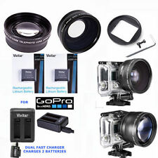 HD FISHEYE LENS + ZOOM LENS + 2x BATTERIES + DUAL CHARGER FOR GOPRO HERO4 SILVER