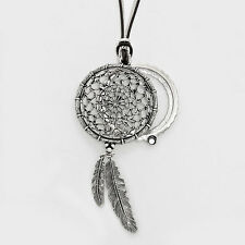 "Dream Catcher Necklace Feather SILVER Magnifying Glass Leaf Tree 33"" Long Chain"