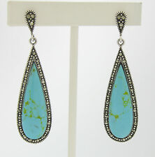 Marcasite Sterling Silver Elongated Tear Drop Turquoise Elegant Ladies Earrings