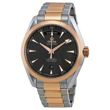 Omega Aqua Terra Brown Dial Steel and 18kt Rose Gold Automatic Mens Watch