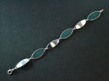 LADIES SIMPLISTIC SILVER GREEN STAINED GLASS BRACELET UNIQUE STATEMENT (ZX5)