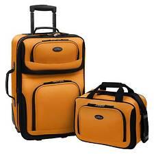 U.S. Traveler Rio 2pc Expandable Carry On Luggage Set - Orange/Mustard