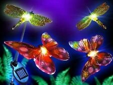 GARDEN PATHWAY SOLAR LIGHTS. 2 DRAGONFLY, 2 BUTTERFLY PATIO LIGHTING ORNAMENT