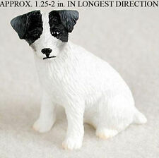 Jack Russell Terrier Mini Resin Hand Painted Dog Figurine Black/White Rough Hair