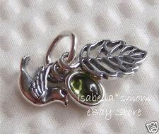 NEW Authentic PANDORA Bird~Leave FOREST TRINITY Green PERIDOT Pendant/Charm