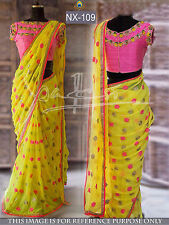 Bollywood Designer Party Wear Bridal Yellow Color Thread Work Saree