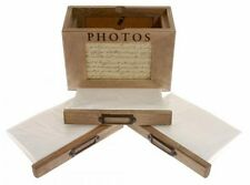 "Rustic Wooden Photo Box Storage Album Holds 72 6 x 4"" Photos Shabby Chic Wood"
