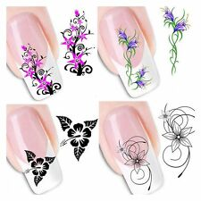 50PCS/Lot  3D DIY Decals Mixed Flowers Stickers Nail Art Tips Water Transfer