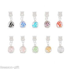 10 Mixed Crystal Cage Dangle Beads Fit Charm Bracelet