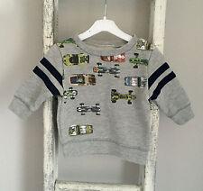 Baby Boy Next Jumper Size 3-6 Months Grey Toy Car Stripe Top Spring