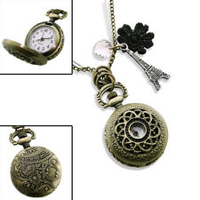 VINTAGE BRASS WORKING POCKET WATCH CHARM NECKLACE -Gift Pouch Clock Eiffel Tower