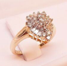 MINT 10K YELLOW GOLD 1/2+ cttw DIAMOND CLUSTER COCKTAIL RING Size 6-3/4