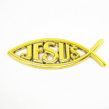 Golden Christian Jesus Fish Emblem Sticker Ichthus Symbol On Gas Tank Tailgate