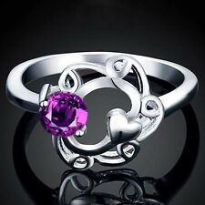 Silver Plated 925 Purple Crystal CZ Heart Swirl Engagement Ring. Size Q / 8. 907