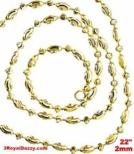 """14K Yellow Gold layered on 925 Silver diamond cut Moon Chain / Necklace-2mm- 22"""""""