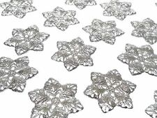 20 x 35mm Filigree Metal Embellishments Silver Flower Corners Wedding Craft