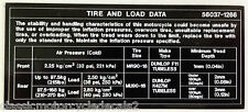 KAWASAKI Z1300 KZ1300 VOYAGER TIRE AND LOAD DATA CAUTION WARNING DECAL