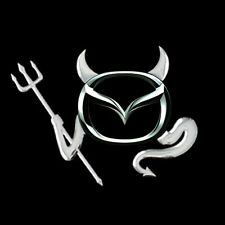 3D Chrome Devil Decal Car / Truck Custom Demon Stickers W/ Horns 4 Pieces Mazda!