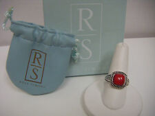 Ross Simons Red Coral Bezeled Set Sterling Silver 925 Ring NEW~BOXED SIZE 9