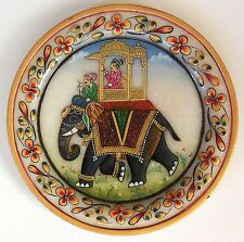 Indian Maharaja 5″ Marble Plate Art Handmade Floral Elephant Home Decor Painting