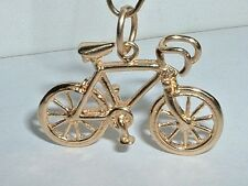 VINTAGE 14K YELLOW GOLD 3D TEN SPEED BICYCLE BIKE PENDANT CHARM
