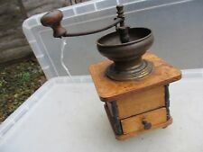 Vintage Wooden Coffee Grinder Brass Bean Bowl Cafe Feature Old