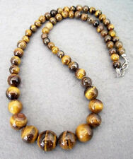 Natural  6-14MM GENUINE TIGER EYE GEMS STONE ROUND BEADS NECKLACE 18""