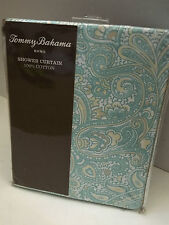 New Tommy Bahama Home 100% Cotton Shower Curtain - Light Blue Paisley 72x72