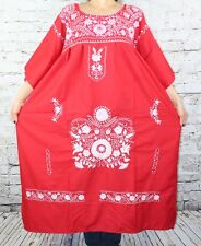 3XL Red Peasant Tunic Boho Hippie Bicolor Hand Embroidered Mexican Dress Tunic