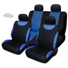 New Sleek Black and Blue Flat Cloth Seat Covers Set For Nissan