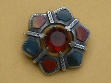 Victorian Scottish Agate Silver Citrine Brooch Pin