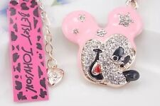 Adorable NWT Betsey Johnson Necklace Pink  And Gold  Crystal  Mickey Mouse Ears
