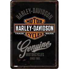 Nostalgie tôle carte postale HARLEY DAVIDSON-GENUINE BIKER MOTO NEUF emballage d'origine