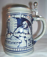 German Bavarian Beer Stein With Tin Lid Collectors Item Monk Motif Oktoberfest